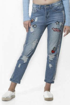 En Tarz Yamalı Kot Pantolon Modelleri 2019
