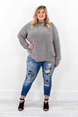 Kilolu Bayanlar İçin Yamalı Kot Pantolon Modelleri 2019
