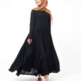 En yeni tesettür kloş elbise modelleri