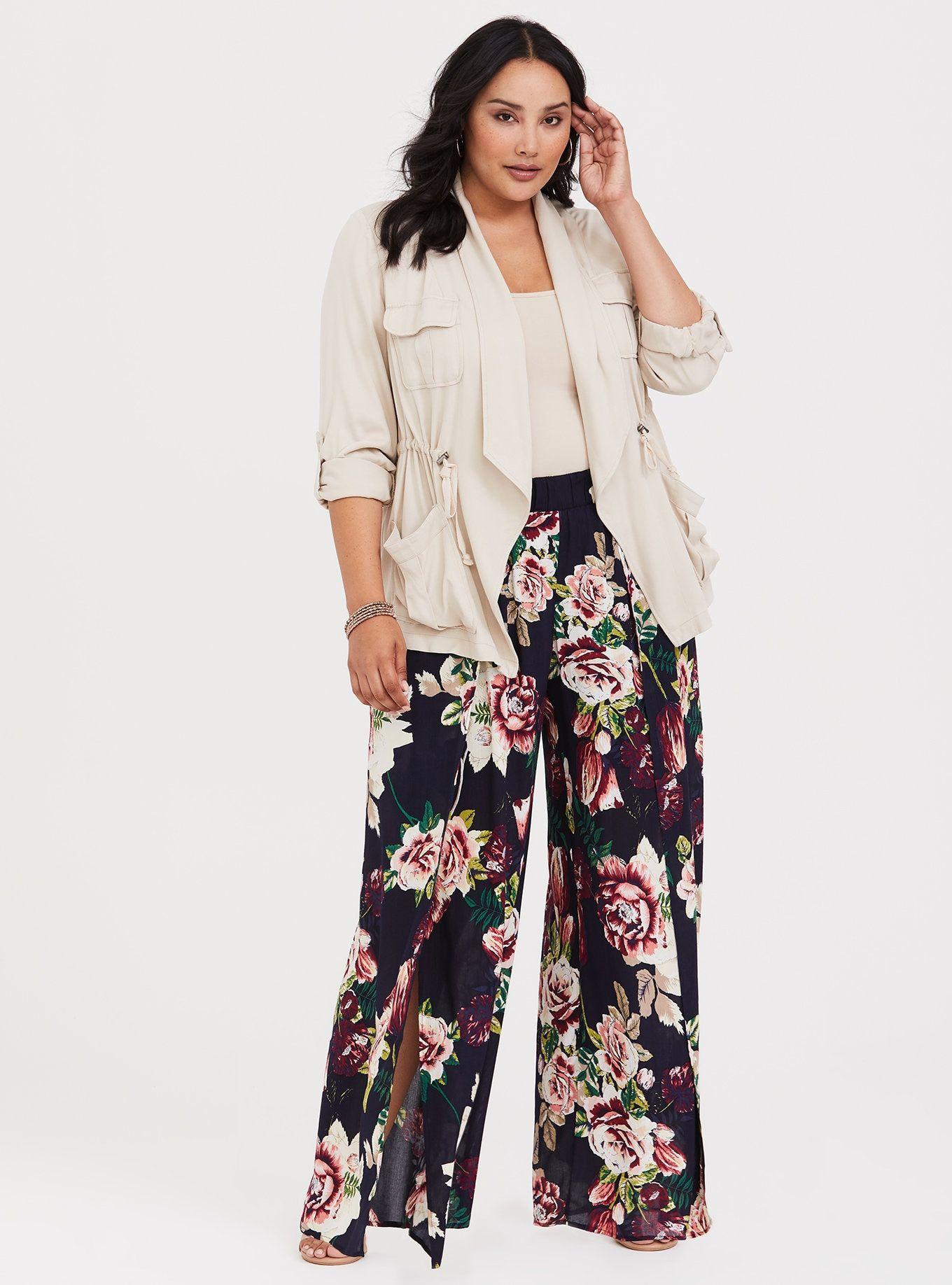 Kilolu kadınlar için çiçek desenli pantolon modelleri