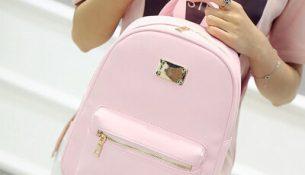 Pembe renkli çok şık kadaın sırt çantası modelleri