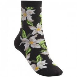 Floral desenli siyah kısa çorap