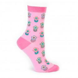 Pembe çiçekli kısa çorap