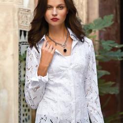 Gömlek Tarzı Beyaz Dantelli Bluz Modelleri