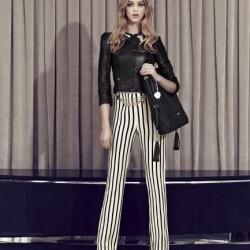 yüksek bel çizgili pantolon-kısa deri ceket kombini