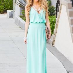 Düz Kesim Mint Yeşili Yazlık Elbise Modelleri