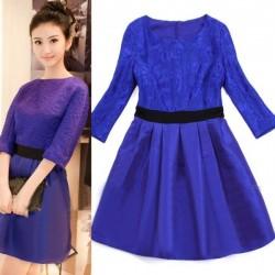 Saks Mavisi Günlük Elbise Modelleri