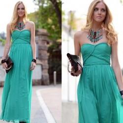 Straplez Mint Yeşili Yazlık Elbise Modelleri
