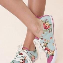 Çiçek Desenli Yazlık Bez Ayakkabı Modelleri