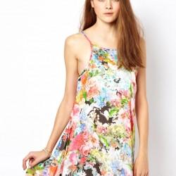 Askılı Çiçekli Elbise Modelleri