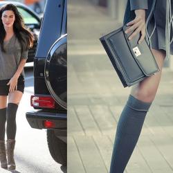 Gri 2014 Yeni Diz Üstü Çorap Kombinleri