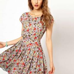 Pileli Çiçekli Elbise Modelleri