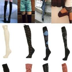 Renkli Yeni Diz Üstü Çorap Kombinleri