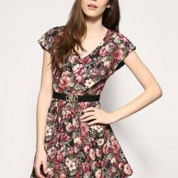 Çiçekli Yazlık Baskılı Elbise Modelleri