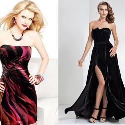 Desenli Kadife Elbise Modelleri