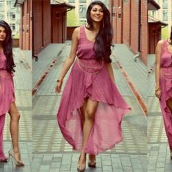 Pembe Yeni Asimetrik Kesim Elbise Modelleri