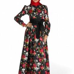 Rengarenk Tesettür Baskılı Elbise Modelleri