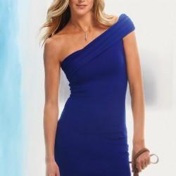 Tek Omuzlu Mavi Elbise Modelleri