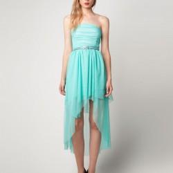 Turkuaz Yeni Asimetrik Kesim Elbise Modelleri