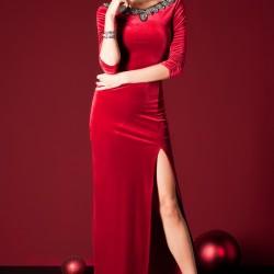Derin Yırtmaçlı Sateen Elbise Modelleri