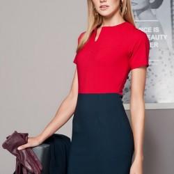 Kırmızı ve Lacivert Elbise Duse Yeni Sezon Modelleri