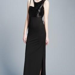 Payetli Siyah Uzun Yılbaşı Elbiseleri