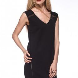 V Yaka Siyah Yeni Sezon Elbise Modelleri