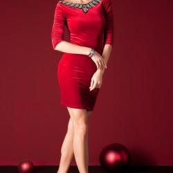 Yakası Süslemeli Sateen Elbise Modelleri