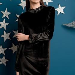 Yakası Taşlı Siyah Elbise Yeni Sezon Kakao Suit Modelleri