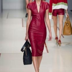 Bordo Deri Elbise Trussardi 2015 İlkbahar - Yaz Modelleri