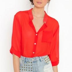 Kırmızı 2015 Şifon Gömlek Modelleri