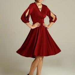 Kol Detaylı Elbise Trend Renk Marsala Modelleri