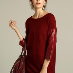 Kolları Deri Tunik Trend Renk Marsala Modelleri