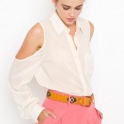 Omuz Kısmı Açık 2015 Şifon Gömlek Modelleri