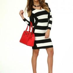 Siyah Beyaz Çizgili Sense Elbise Modelleri