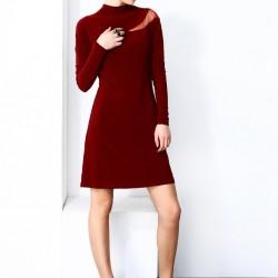 Tül Detaylı Bordo Elbise 2015 Laranor Modelleri