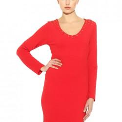 Zımba Detaylı Kırmızı Batik Yeni Sezon Elbise Modelleri