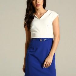 Çift Renkli Kemer Detaylı Mavi 2015 Elbise Modelleri