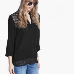 Etnik Dantel İşlemeli Siyah Mango 2015 Bluz Modelleri