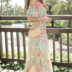 Japon Stili Yeni Sezon Çiçek Desenli Elbise Modelleri