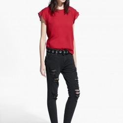 Kolları Fırfırlı Bordo Mango 2015 Bluz Modelleri