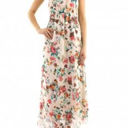 Kolsuz Uzun Yeni Sezon Çiçek Desenli Elbise Modelleri