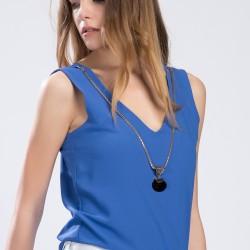 Kolyeli Mavi Setre 2015 Bluz Modelleri