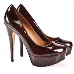 Koyu Kahve Yeni Sezon Parlak Topuklu Ayakkabı Modelleri