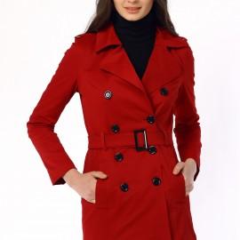 Kruvaze Yaka Kırmızı Trençkot 2015 Modelleri