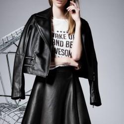 Siyah Deri Etek 2015 Etek Modelleri