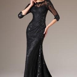 Siyah Payet Detaylı 2015 Dantelli Abiye Modelleri