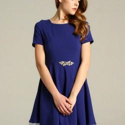 Tül Detaylı Mavi 2015 Elbise Modelleri