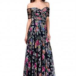 Uzun Yeni Sezon Çiçek Desenli Elbise Modelleri