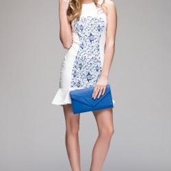 Desenli Beyaz adL 2015 Elbise Modelleri